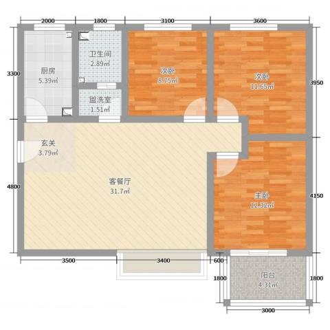 佳龙・大沃城3室2厅1卫1厨109.00㎡户型图