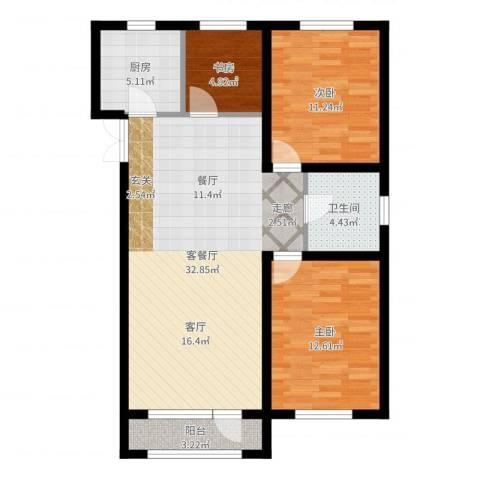 宝地城3室2厅1卫1厨93.00㎡户型图