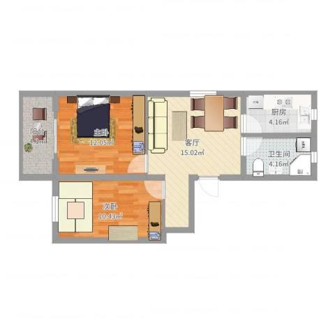 平吉二村2室1厅1卫1厨63.00㎡户型图