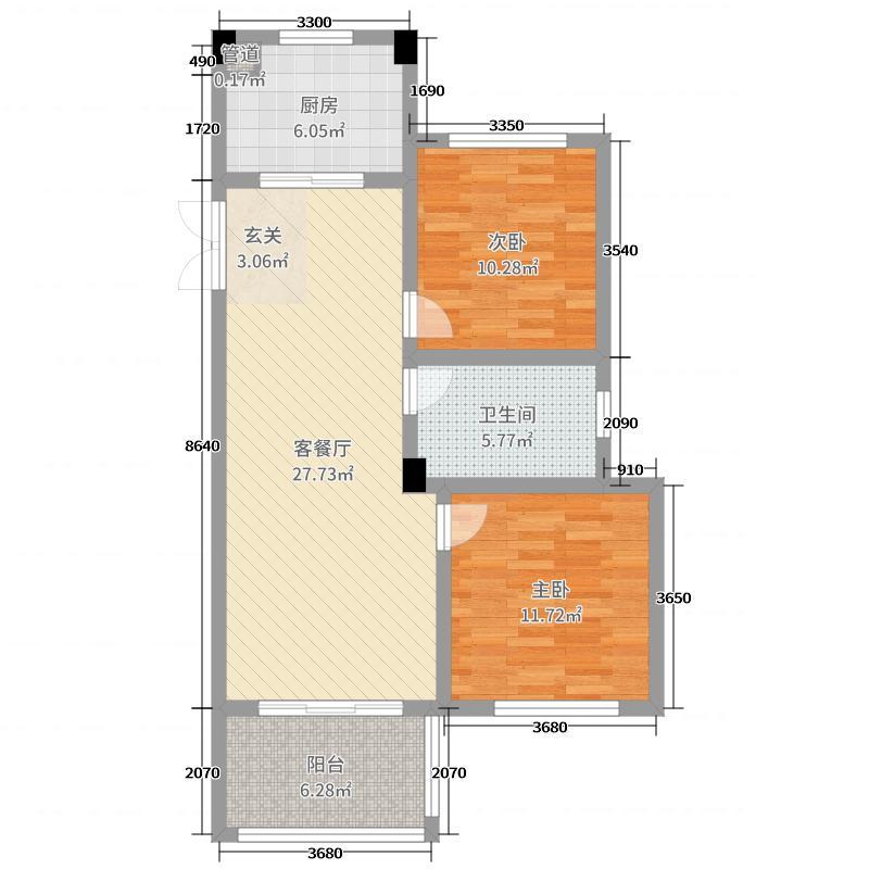 旷达太湖花园84.73㎡34-36#标准层A2户型2室2厅1卫1厨
