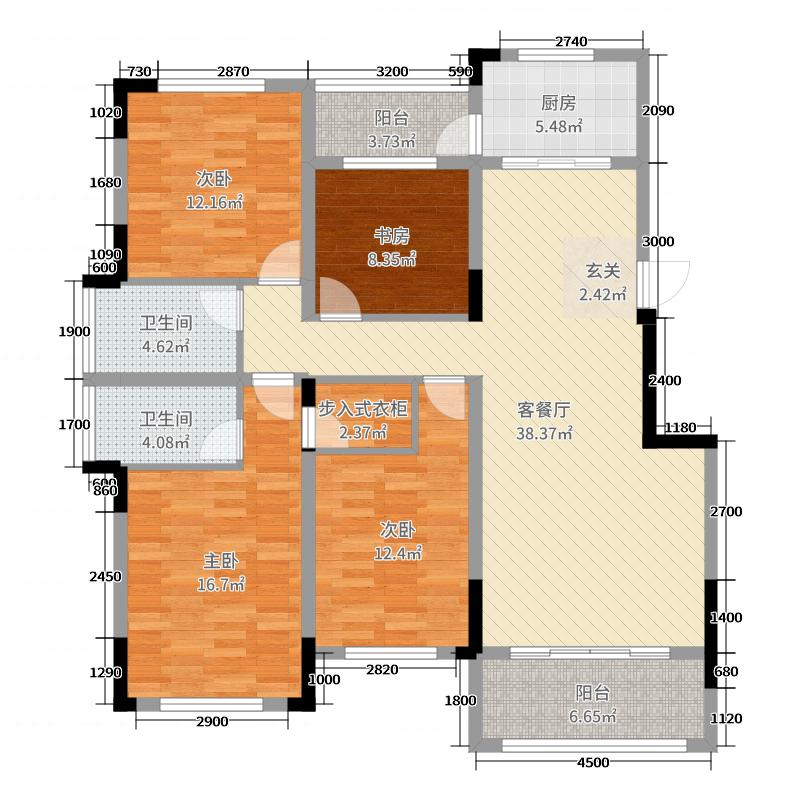 万恒・白金汉宫131.00㎡C户型4室4厅2卫1厨