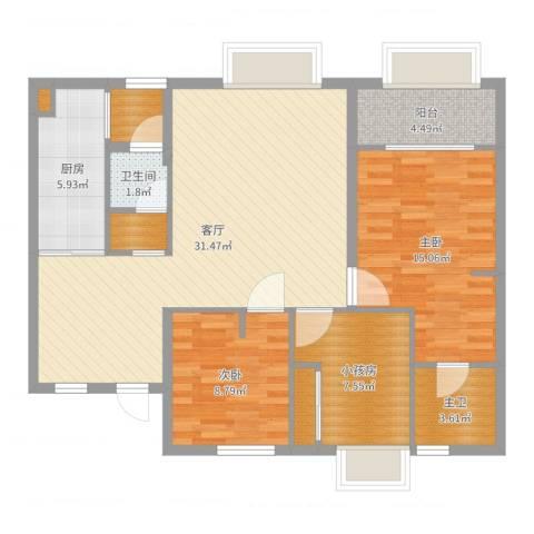 万向西界莎拉2室1厅1卫1厨103.00㎡户型图