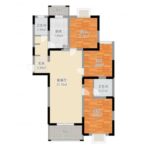 苏尚帝景3室2厅2卫1厨123.00㎡户型图