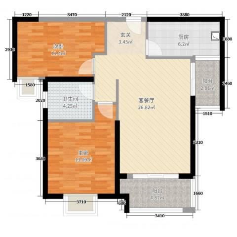 实地・玫瑰庄园2室2厅1卫1厨87.00㎡户型图
