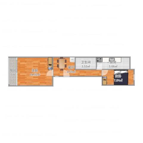 农光里小区2室1厅1卫1厨53.00㎡户型图