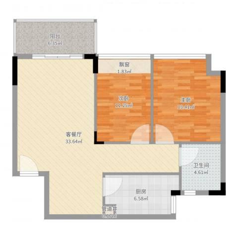 金地格林小城2室2厅1卫1厨95.00㎡户型图