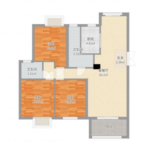 正方.上林苑3室2厅2卫1厨110.00㎡户型图