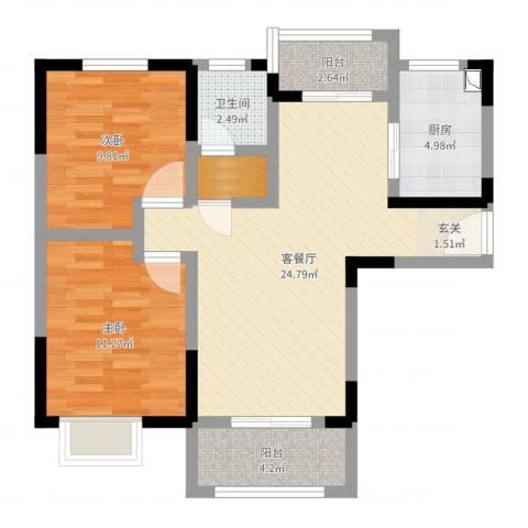阳澄春晓苑2室2厅1卫1厨77.00㎡户型图