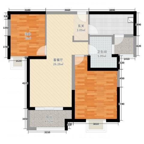 实地・玫瑰庄园1室2厅1卫0厨87.00㎡户型图