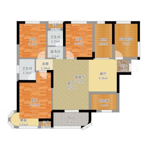 润和之悦3室2厅2卫1厨119.00㎡户型图