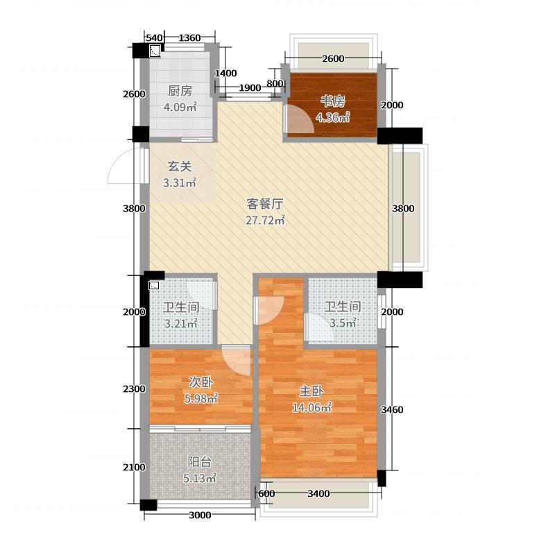 龙都・茗园89.21㎡D2户型3室3厅2卫1厨