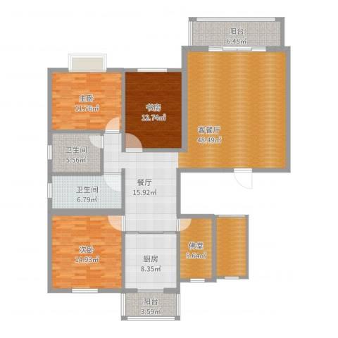 凤凰新城3室2厅2卫1厨162.00㎡户型图