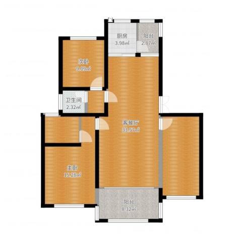 帝景传说山邸2室2厅1卫1厨118.00㎡户型图