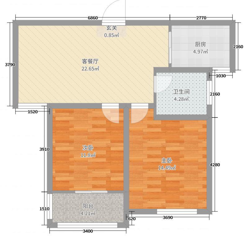 兰亭御城78.00㎡31#、32#中间户D3'户型2室2厅1卫1厨