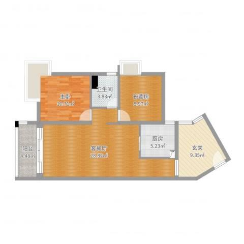 龙光海悦城邦1室2厅1卫1厨89.00㎡户型图