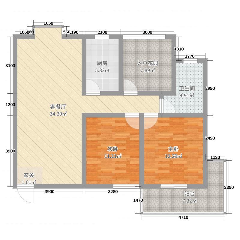 祥安・东城国际花园110.68㎡C户型3室3厅1卫