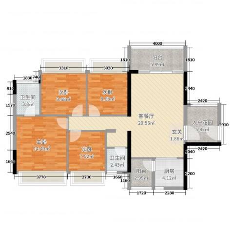正德天水湖4室2厅2卫1厨119.00㎡户型图