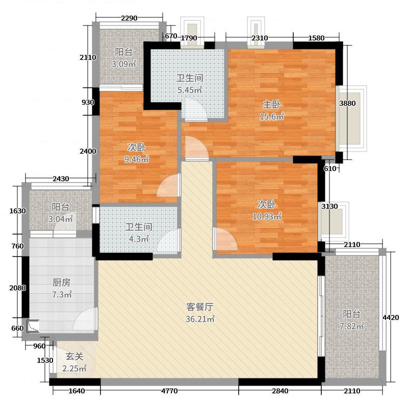 富元利和豪庭125.55㎡2期5幢02户型3室3厅2卫1厨