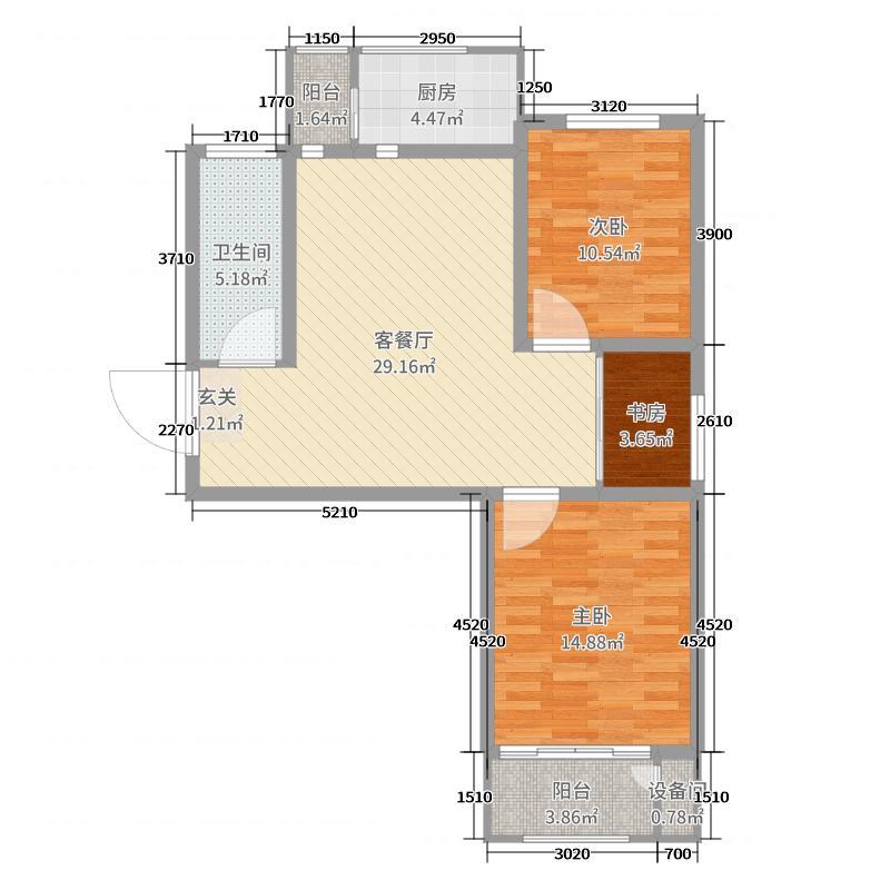 坤泽10里城92.72㎡Ad-9户型3室3厅1卫1厨