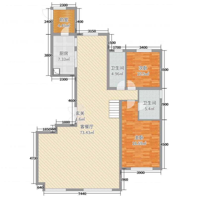 正翔国际246.99㎡二期D下层户型3室3厅3卫1厨