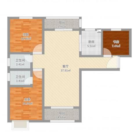 天明城3室1厅2卫1厨116.00㎡户型图