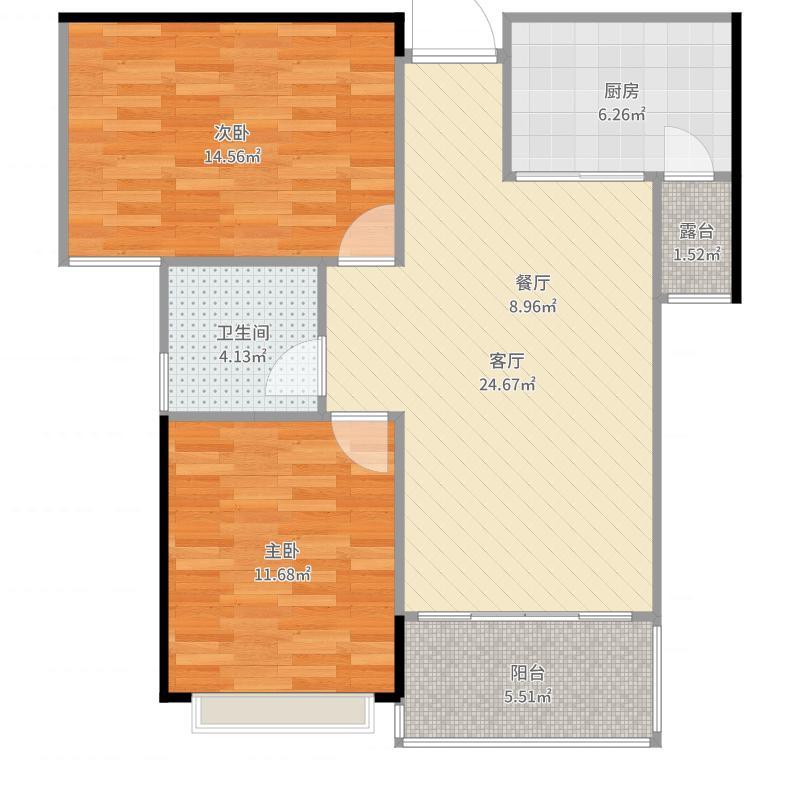 长沙岳麓区鈺龙天下小两房装修设计方案