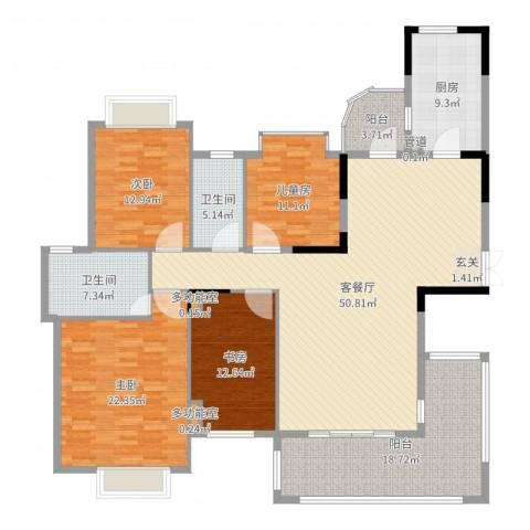 万科松山湖1号4室2厅2卫1厨193.00㎡户型图