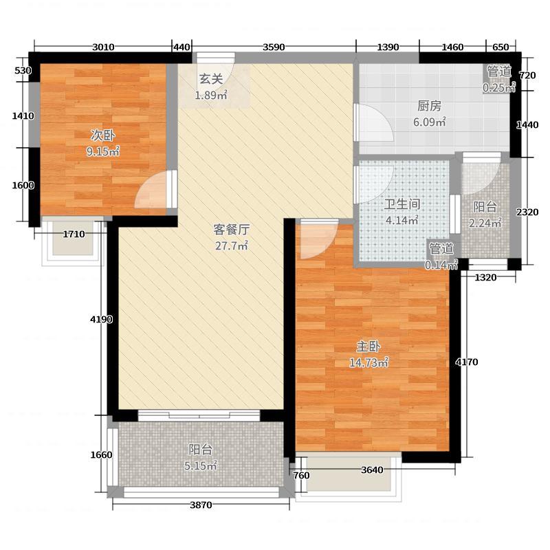 恒大金碧新城87.00㎡16#楼1单元3号户型2室2厅1卫1厨