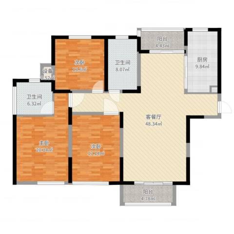 金色维也纳3室2厅2卫1厨166.00㎡户型图