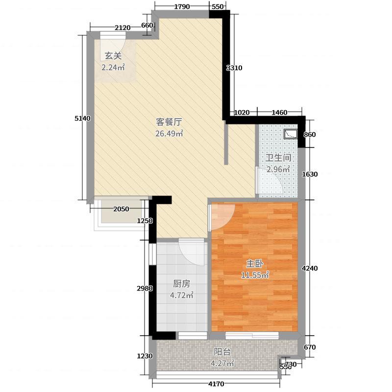 星光国际63.00㎡二期1、2#C户型1室1厅1卫1厨