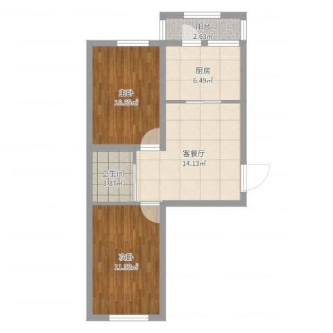 卓扬中华城2室2厅1卫1厨61.00㎡户型图
