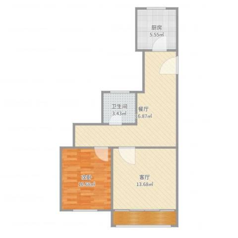 天极盛宅花园1室2厅1卫1厨67.00㎡户型图