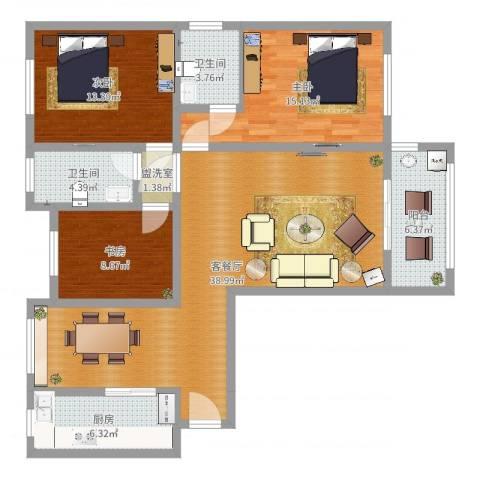 阳光家天下3室4厅2卫1厨123.00㎡户型图