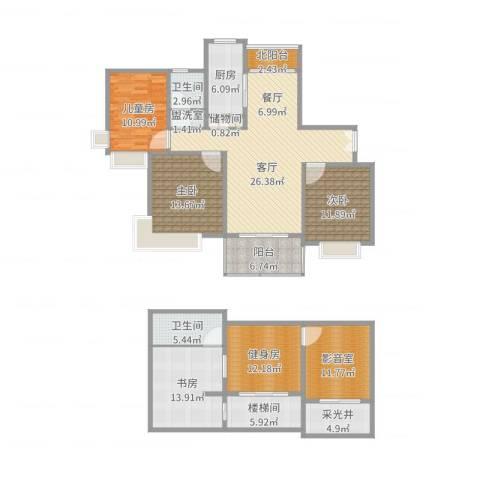 三湘森林海尚4室2厅2卫1厨181.00㎡户型图