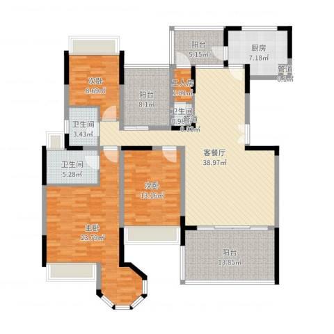 花样年君山别墅3室2厅3卫1厨130.51㎡户型图