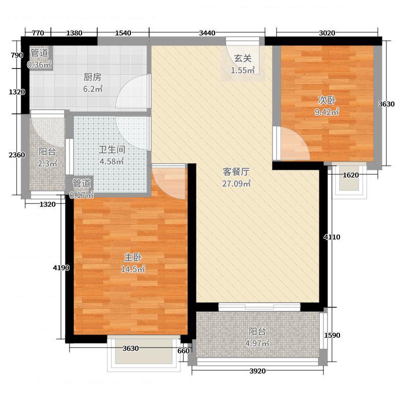 恒大金碧新城87.00㎡16#楼2单元2号户型2室2厅1卫1厨