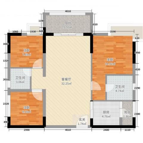 御景湾3室2厅2卫1厨102.00㎡户型图