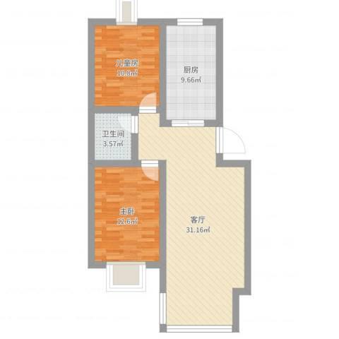 新华联家园2室1厅1卫1厨85.00㎡户型图