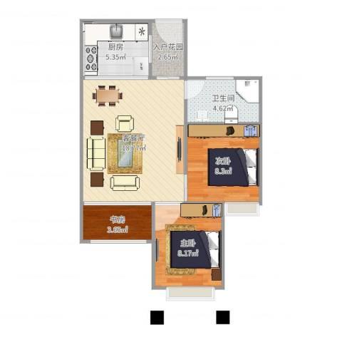 龙恒凤凰城3室2厅1卫1厨64.00㎡户型图