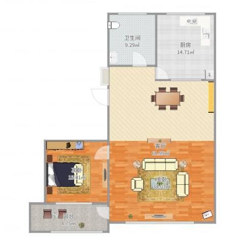 西文化小区1室1厅1卫1厨136.00㎡户型图