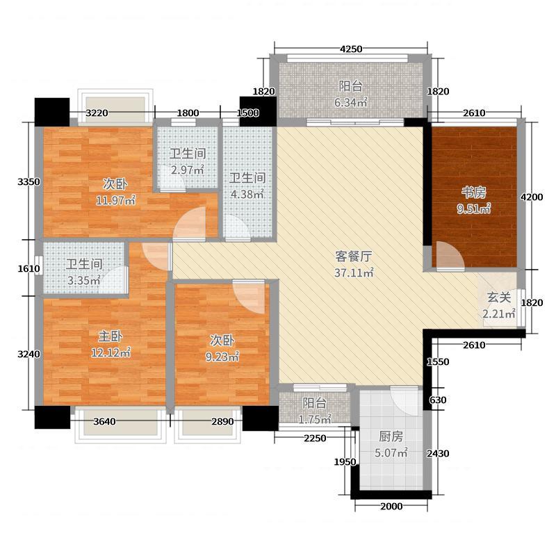 御景湾116.00㎡3户型3室3厅3卫1厨