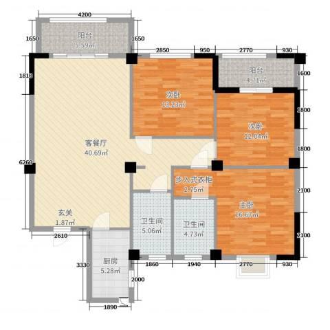 蔚蓝国际3室2厅2卫1厨128.00㎡户型图