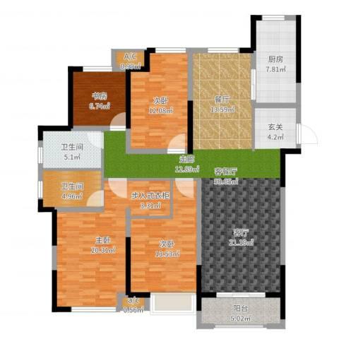 观湖壹号4室2厅2卫1厨160.00㎡户型图