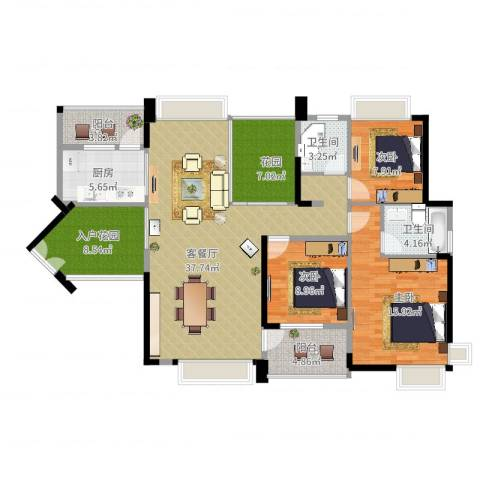 中惠金士柏山3室2厅2卫1厨150.00㎡户型图