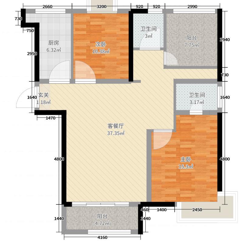 水岸花语110.00㎡1#标准层户型3室3厅2卫1厨