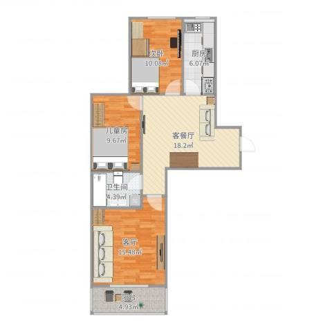 新裕家园2室3厅1卫1厨86.00㎡户型图