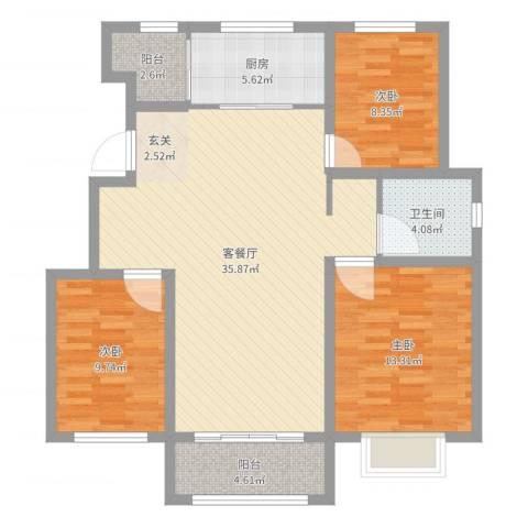 银丰唐郡・牡丹园3室2厅1卫1厨105.00㎡户型图