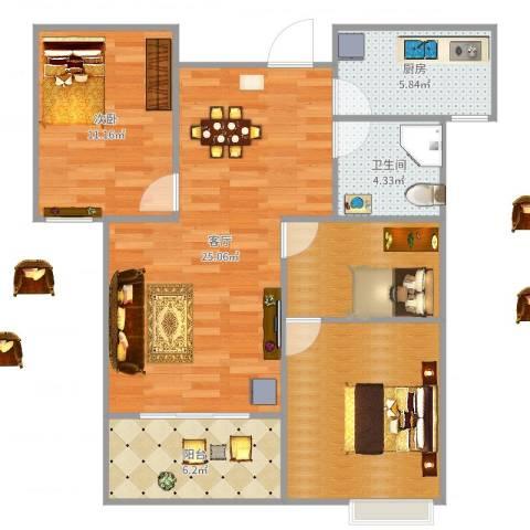 万裕龙庭水岸别墅1室1厅1卫1厨89.00㎡户型图