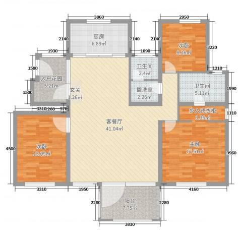 磁山温泉小镇3室2厅2卫1厨137.00㎡户型图