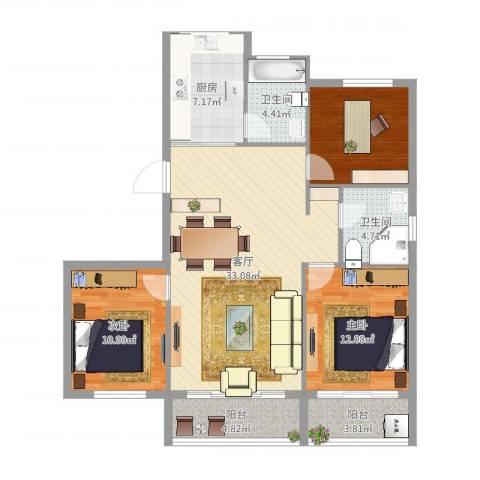 华侨城2室1厅2卫1厨113.00㎡户型图